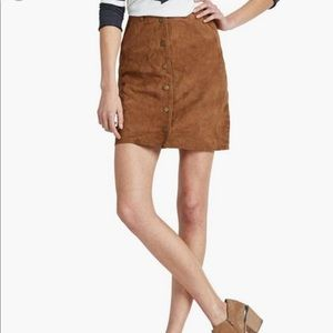 Lucky Brand Leather Snap Up Cognac Skirt Size 4